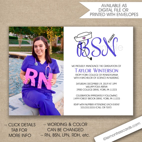 Photo Nurse Graduation Invitation BSN graduation invite RN