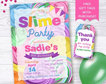 Slime party invitation / Slime birthday party invitation / Slime invitation