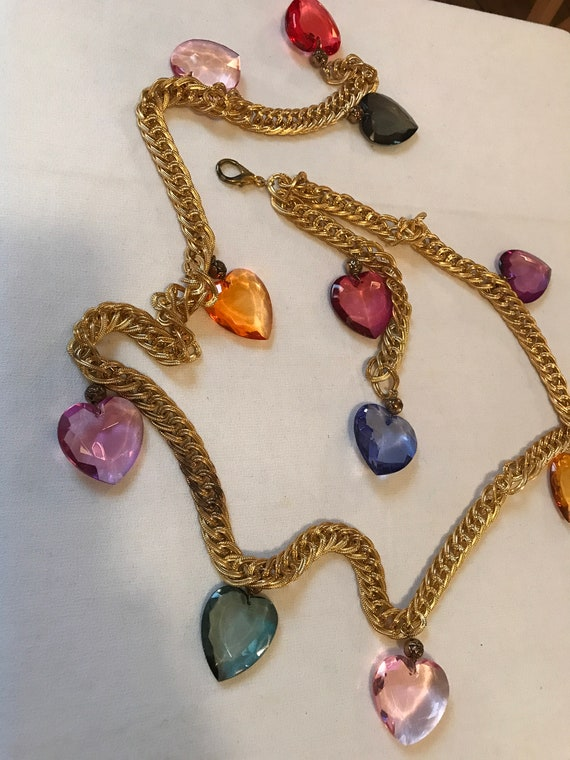 Gorgeous material girl Colorful Lucite Heart Heavy Vintage Belt/Necklace