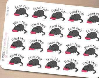 Feed The Cat || Feed Pet Planner Stickers perferct for Erin Condren, Kikki K, Filofax and all other Planners