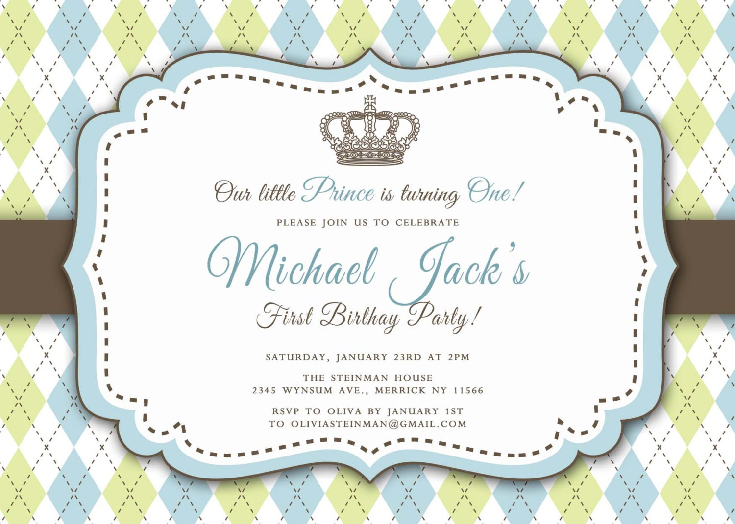 Prince First Birthday Invitation