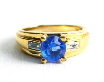 Vintage Art Deco Gold Plated Blue Sapphire Faceted Glass Ring - Paste Baguettes - Men's Women's - Unisex - Size 8