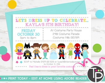 Costume party invite etsy costume party invitation instant download dress up party invitation costume party printable stopboris Gallery