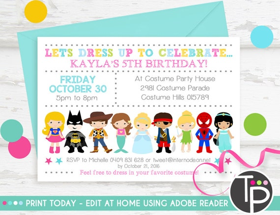 Costume party invitation instant download dress up party stopboris Images