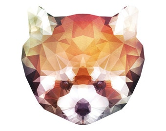 "Geometric Red Panda Lesser Panda Watercolor Painting, 8X10"" and 11X14"" Instant Download, Ptintable, Animal Painting, Animal Print"