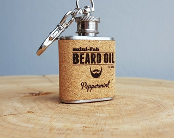Beard Oil - Peppermint Scent - 1 oz. Reusable Flask - Men's Grooming All-Natural Organic Oil - Cork Label