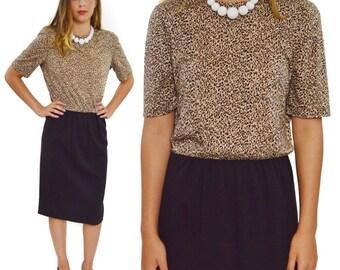 Vintage 80s Rober Janan Designed by Eva Leopard Print Sheath Dress