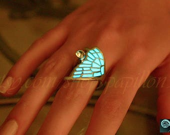 Butterfly Wing / Butterfly Ring / GLOW in the DARK / Butterfly WING Ring /