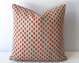 Both sides, Oatmeal tan and orange ikat dots decorative pillow cover