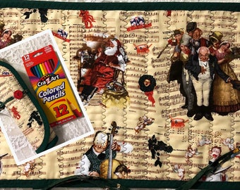 NORMAN ROCKWELL CHRISTMAS Cotton Fabric Rolled Pencil Holder lots of machine decorative stitchinh 12 Colored Pencils included Great gift