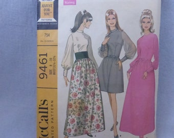 Vintage McCall's Pattern 9461 Misses Dress in Three Versions Dual Size 8-10