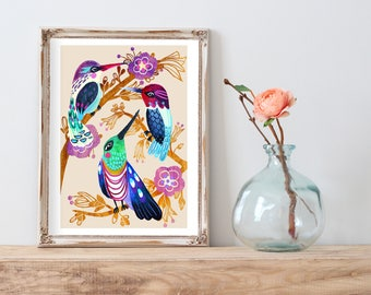 Hummingbird Tree Watercolor Wooden Flower Print - Multiple Sizes