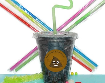 Emoji Poop Party Cups, Emoji Cups, Kids Birthday Party Cups, 20 Cups, Emoji Poop Kids Party Cups, Straws and Lids, 12 Ounce Cups
