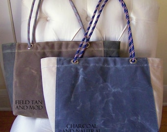 Two Tone Tote / Waxed Canvas / Rope Handle / Lined