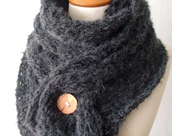 Dark Grey Scarf Cowl Handknit Cabled Autumn Winter Fashion