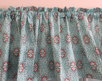 Turquoise And Coral Kitchen Valance 42 Inches Wide Window