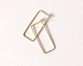 Rectangle Hoop Earrings - Simple Geometric Earrings - Modern Geometric Hoops - Modern Rectangle Earrings - 14k Wire Rectangle Earrings
