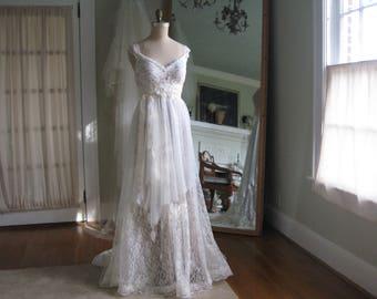 Tiered Lace Wedding Dress, Fairy wedding Dress, Boho Wedding Dress, Hippie Wedding Dress, One of a Kind Lace Wedding Gown, Edwardian Gown