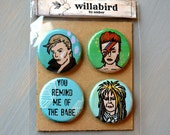 David Bowie Buttons Pinback or Magnet Set, Original Paintings by Amber Petersen. Great for Gifts or to Fancy Up Your Own Fridge or Apparel!
