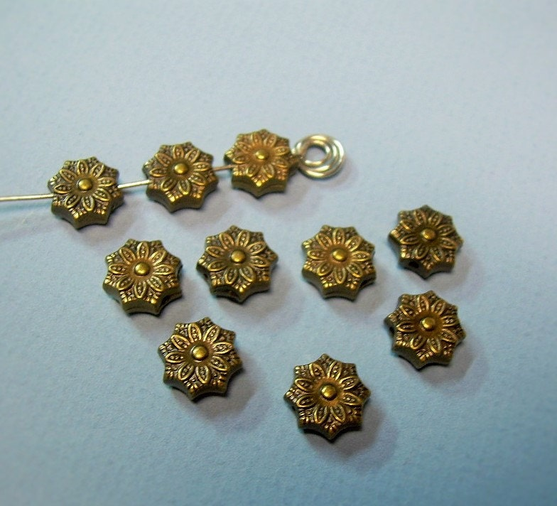 10 Vintage Metallized Acrylic FLOWER BEADS Antiqued Gold Ox