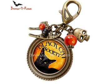 "Orange cabochon black halloween cat bag charm ""Black cat society"""