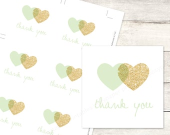mint gold hearts favor tags printable DIY wedding bridal shower favour tags mint green gold glitter wreath thank you card - INSTANT DOWNLOAD