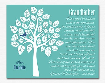 Grandfather gift wall art print -UNFRAMED- Tree, birds, personalized grandfather gift print, artwork, gift grandpa, father's day gift