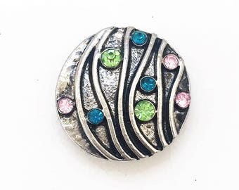 snap jewelry multi colored rhinestone silver tone metal 18mm snap charm--compatible with Nossa, Ginger Snaps, Magnolia and Vine