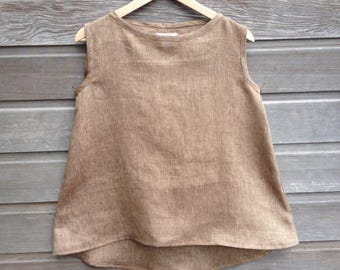Womens minimalist top 100% linen / Boat-neck swing top / Loose aline fit / Sleeveless slub linen tank / Made to order / Sizes XS-XXL