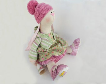 bunny doll Rabbit art doll Becky OOAK Stuffed animal bunny toy Unique Tilda Cloth doll Green gift Soft toy Collectible home decor 18''46cm
