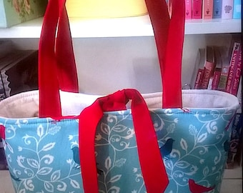 Handcrafted, Red/Blue Bird 2 handbag, knitting bag, purse