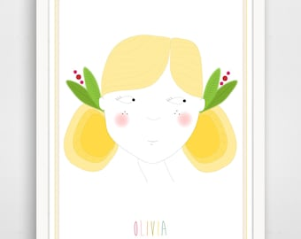 Personalized Children's Wall Art / Nursery Decor Little Blondie Girl Portrait with Custom Name  print by Finny and Zook
