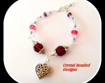 Pink Swarovski Crystal Elements Beaded Bracelet with Heart Pendant Charm