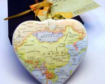 China Map Christmas Ornament, Your Special Place in the Heart / HONEYMOON Gift / Wedding Map Gift / Travel Tree Ornament /