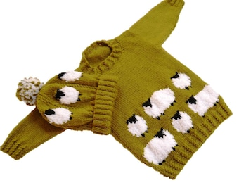 Sheep Child's Sweater and Hat Aran Knitting Pattern,  Sheep Sweater and Hat Knitting Pattern, Aran Sheep Knitting Pattern, Hat Sheep Pattern