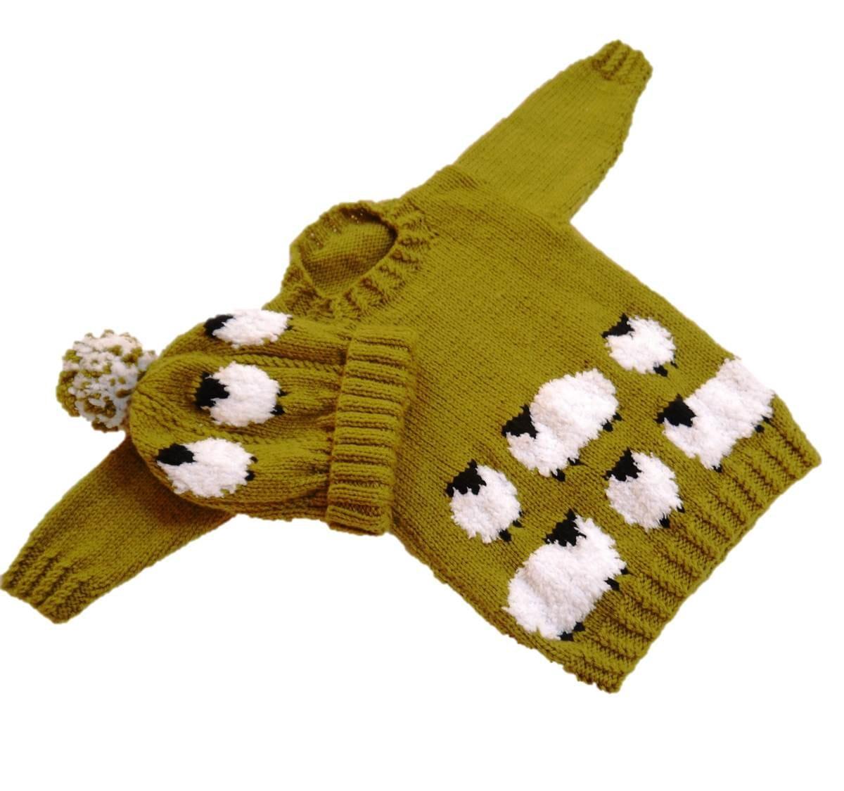 Sheep Child\'s Sweater and Hat Aran Knitting Pattern, Sheep Sweater ...