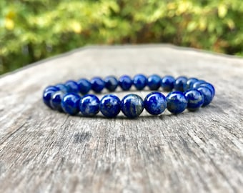 Lapis Lazuli Bracelet 8mm Lapis Lazuli Gemstone Bracelet Blue Lapis Lazuli With Silver and Gold Pyrite Inclusions Stackable Gift Bracelet