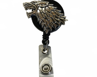 Dire wolf retractable badge reel alligator swivel clip
