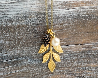 Pine Cone Necklace Pinecone Pendant Woodland Forest Jewelry Autumn Rustic Wedding Gift for Her Bridesmaid Jewelry Leaf Pendant