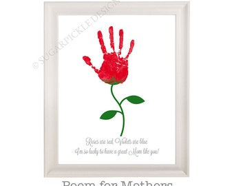 Gift for Mom, Mom's Birthday Gift, Personalized, Handprint, Kids gift to a Mother, Mothers Day gift