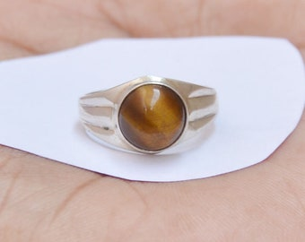 Sale Beautiful Natural TIGER EYE Gemstone Ring, Wedding Gift, Round Gemstone, 925 Sterling Silver Ring, Tiger eye Ring, All Size Available,