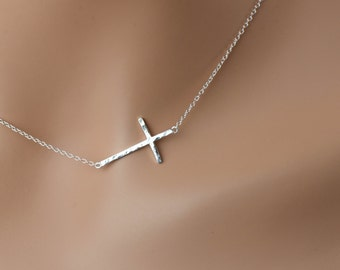"Hammered Sideways Cross Necklace, All Sterling Silver, minimalist jewelry, 16"" 17"",  mothers necklace,dainty necklace, sideway"