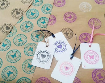 Typography Print / Butterfly Print / Heart Print /  Wrapping Paper / Hand printed paper / Tags / Hand Stamped / Kraft Paper / Gift Wrap /