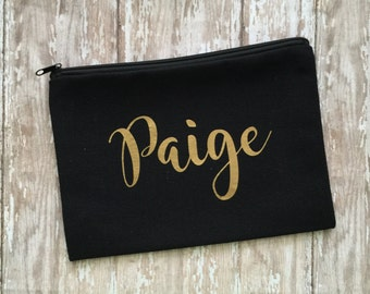 Personalized Black Makeup Bag -  Bridesmaid Gift-personalized toiletry - makeup bag - toiletry bag - bridal party - Engagement Gift - Travel
