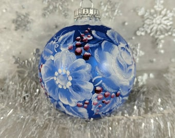 Floral Ornament, White on Blue, Hand-Painted Christmas, White Floral, Wine Berries, Free Inscription, Christmas Keepsake, Blue Glass
