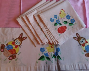 Vintage Hand Painted Napkins and Basket Cloth. Easter Bunny, Chicks, Flowers
