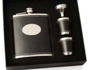 Black Leather Hip Flask with Cups and Gift Box - Engraved Free with your own Message