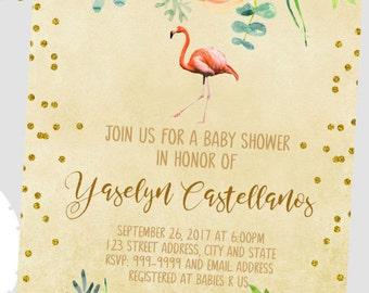 50% off Flamingo Bridal Shower Invitation,Flamingo Shower, Flamingo Invitation, Famingle Invitation, Back included- printed