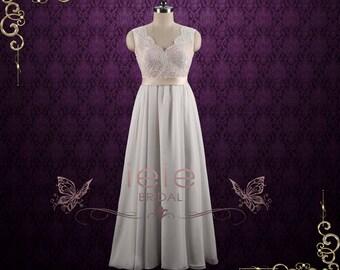 Boho Style Lace Chiffon Wedding Dress with Open Back | Bethany