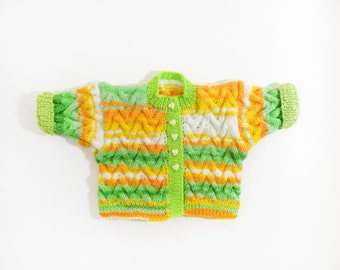 Knitted Baby Jacket - Green, White, Orange, Yellow, 0 - 6 months Spring Color Baby Clothing Cable Knitted Sweater Warm Soft Baby Jacket Gift